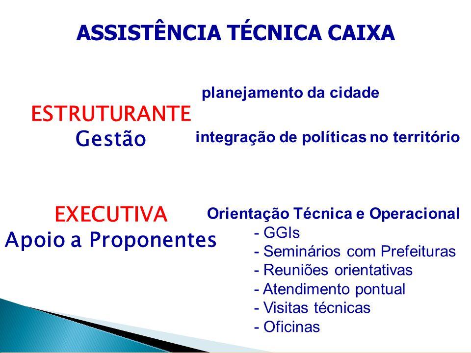 ESTRUTURANTE Gestão EXECUTIVA Apoio a Proponentes ASSISTÊNCIA TÉCNICA CAIXA planejamento da cidade integração de políticas no território Orientação Té