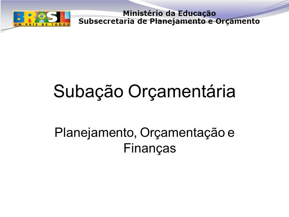 Ministério da Educação Subsecretaria de Planejamento e Orçamento Subação Orçamentária Planejamento, Orçamentação e Finanças
