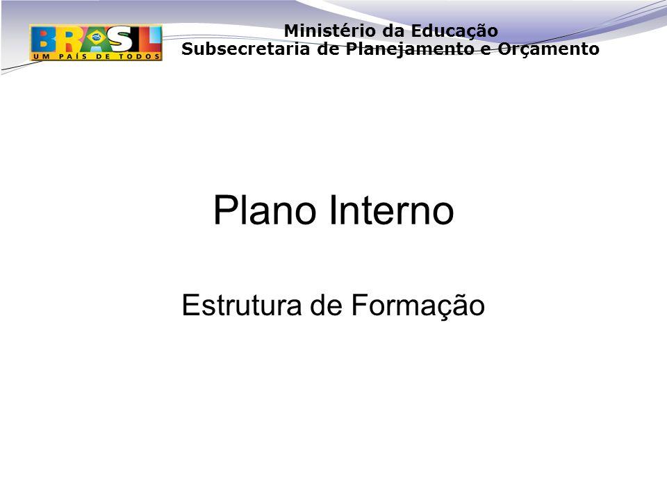 Ministério da Educação Subsecretaria de Planejamento e Orçamento Plano Interno Estrutura de Formação