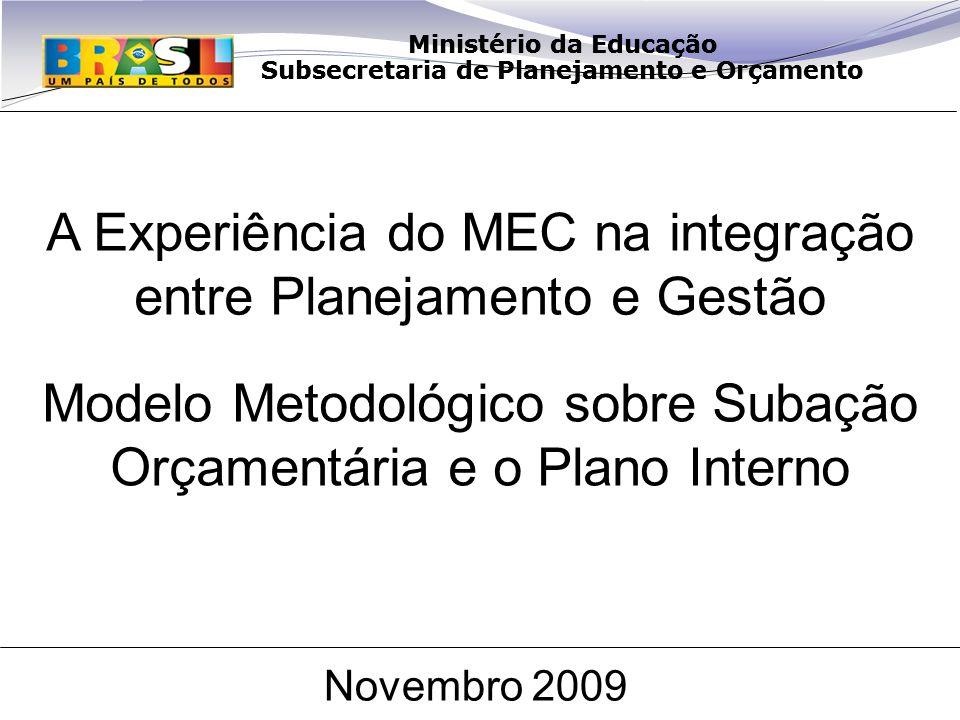 Ministério da Educação Subsecretaria de Planejamento e Orçamento Modelo Metodológico sobre Subação Orçamentária e o Plano Interno Novembro 2009 Ministério da Educação Subsecretaria de Planejamento e Orçamento A Experiência do MEC na integração entre Planejamento e Gestão