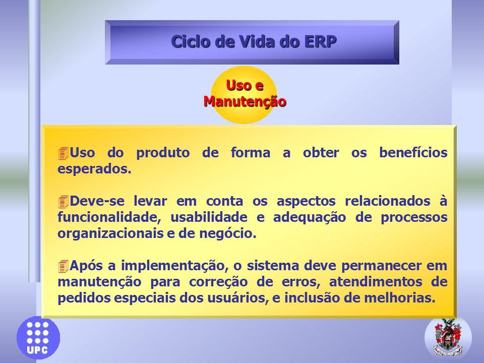 Uso e Manutenção Ciclo de Vida do ERP 4Uso do produto de forma a obter os benefícios esperados. 4Deve-se levar em conta os aspectos relacionados à fun