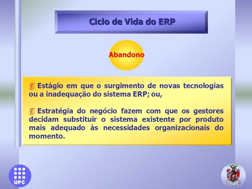 Abandono Ciclo de Vida do ERP 4 Estágio em que o surgimento de novas tecnologias ou a inadequação do sistema ERP; ou, 4 Estratégia do negócio fazem co
