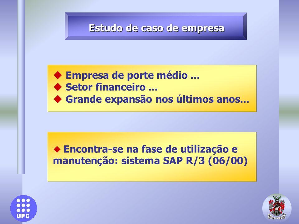 u Encontra-se na fase de utilização e manutenção: sistema SAP R/3 (06/00) u Empresa de porte médio... u Setor financeiro... u Grande expansão nos últi