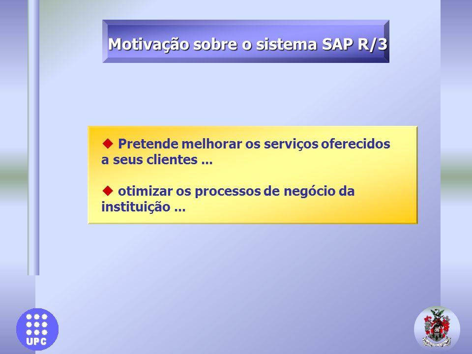 u Pretende melhorar os serviços oferecidos a seus clientes... u otimizar os processos de negócio da instituição... Motivação sobre o sistema SAP R/3