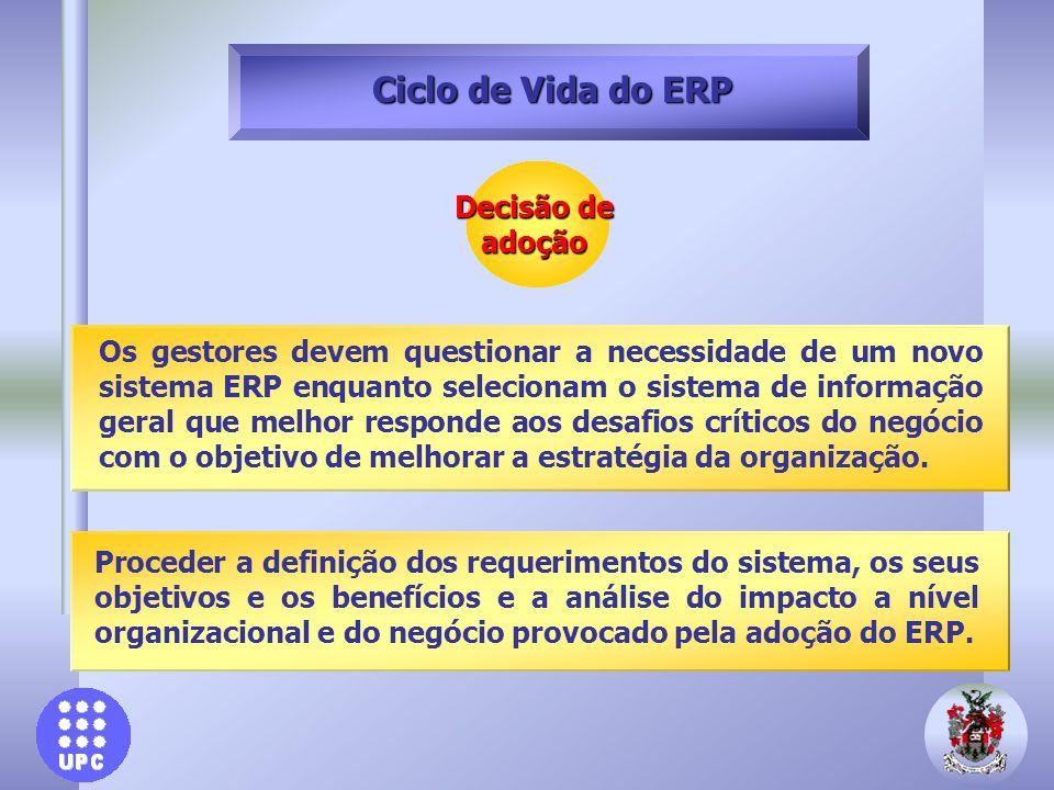 Decisão de adoção Ciclo de Vida do ERP Proceder a definição dos requerimentos do sistema, os seus objetivos e os benefícios e a análise do impacto a n