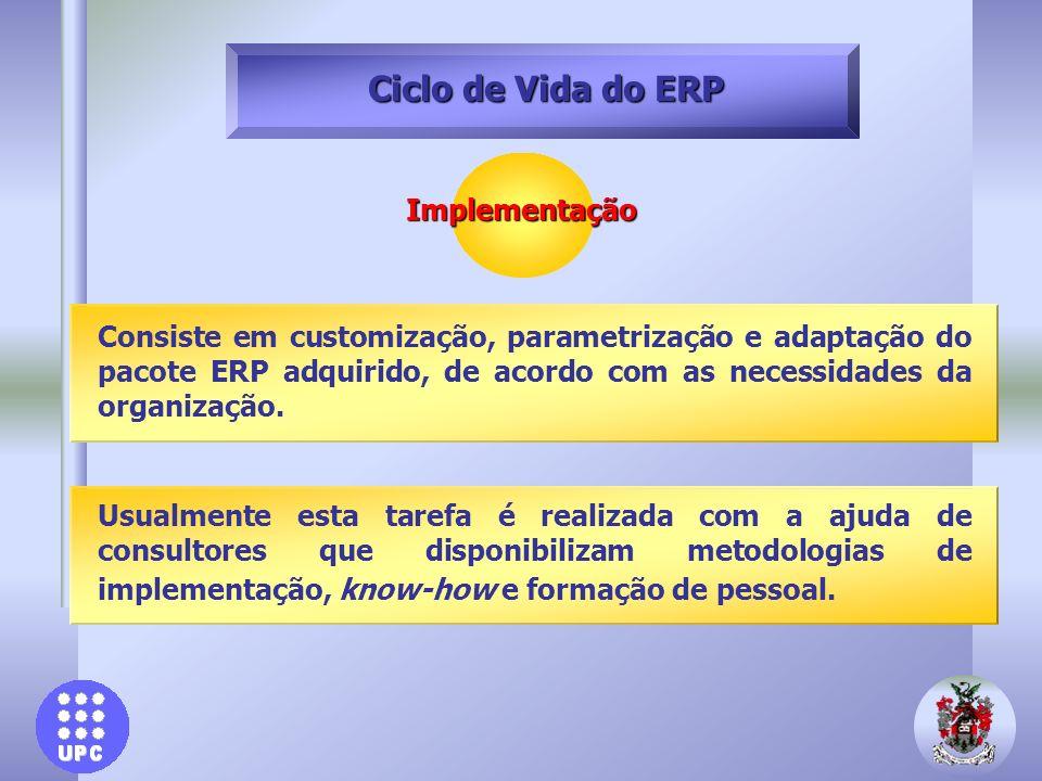 Implementação Ciclo de Vida do ERP Usualmente esta tarefa é realizada com a ajuda de consultores que disponibilizam metodologias de implementação, kno
