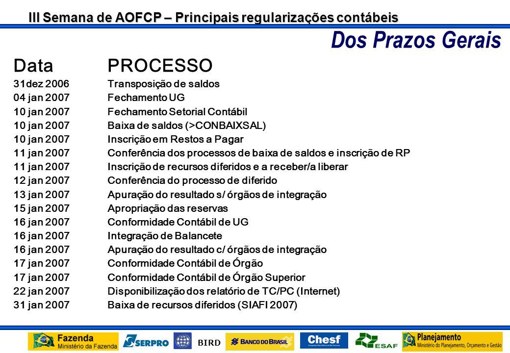III Semana de AOFCP – Principais regularizações contábeis BIRD CALENDÁRIO DE FECHAMENTO EXERCÍCIO DE 2006