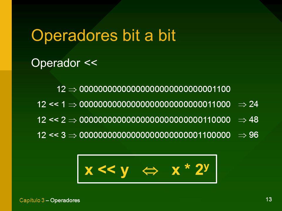 13 Capítulo 3 – Operadores Operadores bit a bit Operador << 12 00000000000000000000000000001100 12 << 1 00000000000000000000000000011000 12 << 2 00000