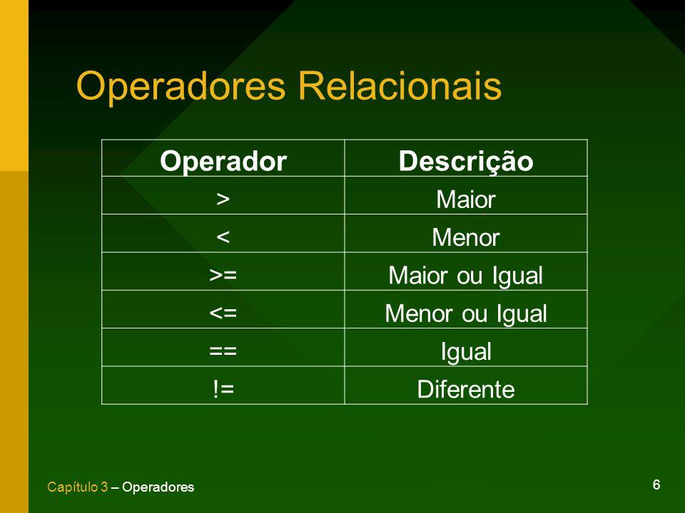 6 Capítulo 3 – Operadores Operadores Relacionais OperadorDescrição >Maior <Menor >=Maior ou Igual <=Menor ou Igual ==Igual !=Diferente