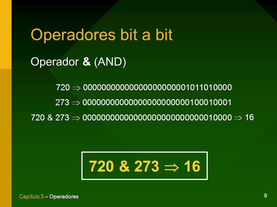9 Capítulo 3 – Operadores Operadores bit a bit Operador & (AND) 720 00000000000000000000001011010000 273 00000000000000000000000100010001 720 & 273 00