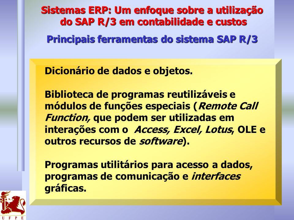 Principais ferramentas do sistema SAP R/3 Dicionário de dados e objetos. Biblioteca de programas reutilizáveis e módulos de funções especiais (Remote