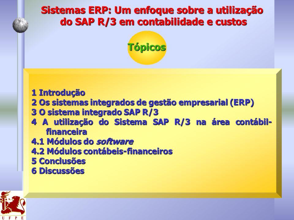 1 Introdução 2 Os sistemas integrados de gestão empresarial (ERP) 3 O sistema integrado SAP R/3 4 A utilização do Sistema SAP R/3 na área contábil- fi
