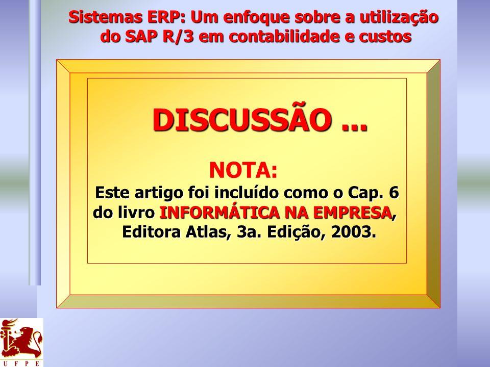 DISCUSSÃO... DISCUSSÃO... NOTA: Este artigo foi incluído como o Cap. 6 do livro INFORMÁTICA NA EMPRESA, Editora Atlas, 3a. Edição, 2003. Editora Atlas