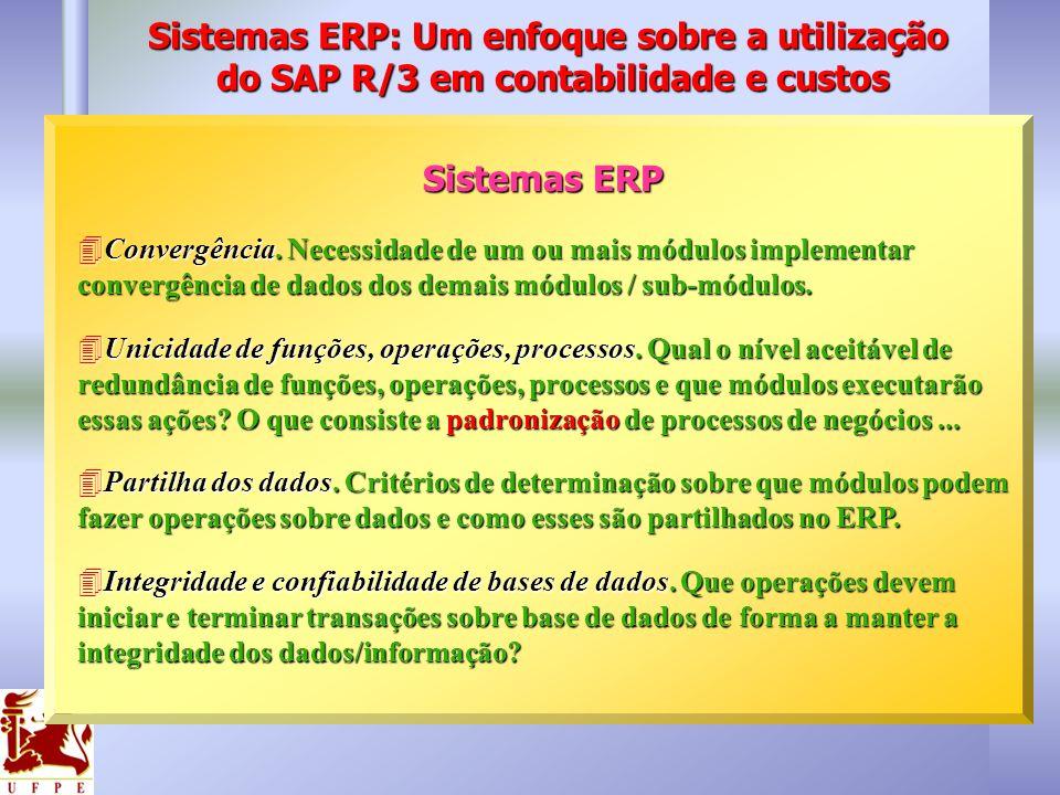 Sistemas ERP Convergência. Necessidade de um ou mais módulos implementar convergência de dados dos demais módulos / sub-módulos. Convergência. Necessi