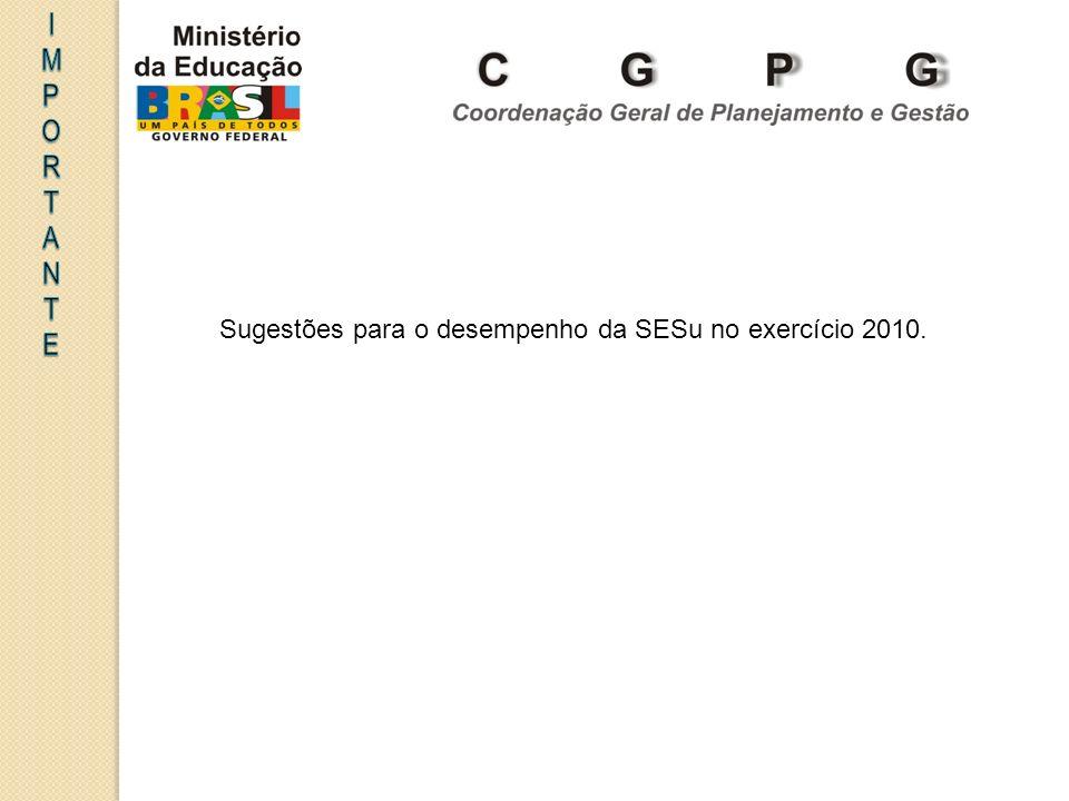 Sugestões para o desempenho da SESu no exercício 2010.