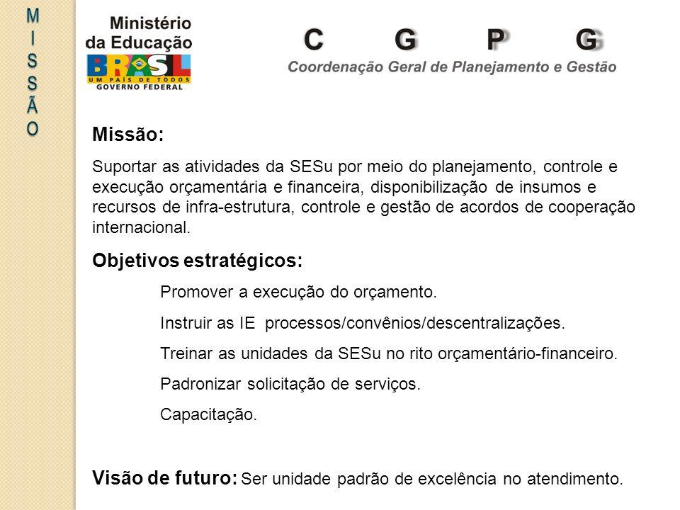 Missão: Suportar as atividades da SESu por meio do planejamento, controle e execução orçamentária e financeira, disponibilização de insumos e recursos de infra-estrutura, controle e gestão de acordos de cooperação internacional.