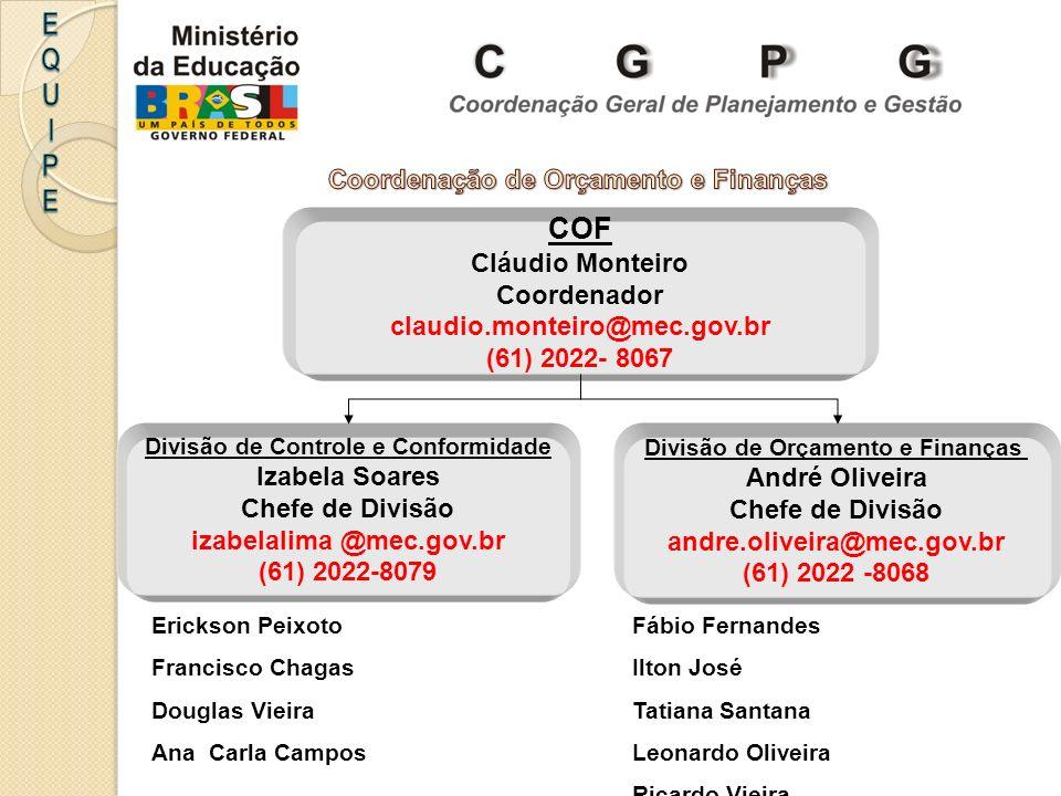 COF Cláudio Monteiro Coordenador claudio.monteiro@mec.gov.br (61) 2022- 8067 Divisão de Controle e Conformidade Izabela Soares Chefe de Divisão izabel