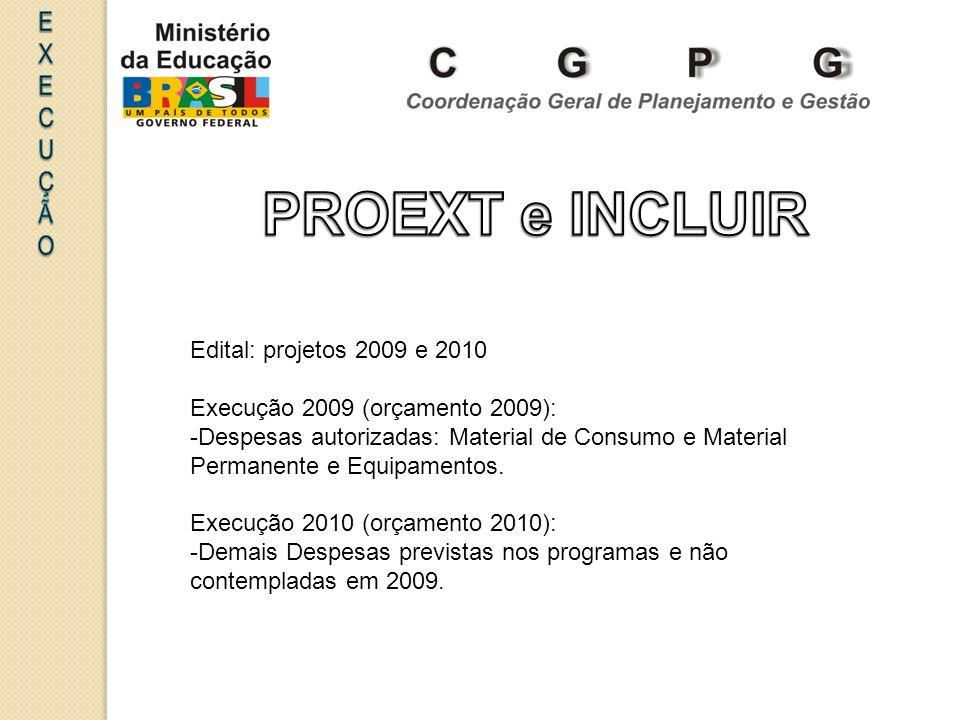 Edital: projetos 2009 e 2010 Execução 2009 (orçamento 2009): -Despesas autorizadas: Material de Consumo e Material Permanente e Equipamentos. Execução