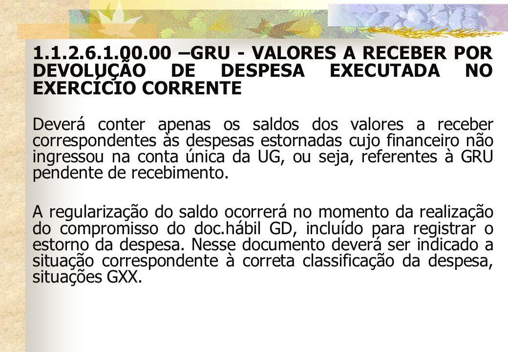 1.1.2.6.1.00.00 –GRU - VALORES A RECEBER POR DEVOLUÇÃO DE DESPESA EXECUTADA NO EXERCÍCIO CORRENTE Deverá conter apenas os saldos dos valores a receber