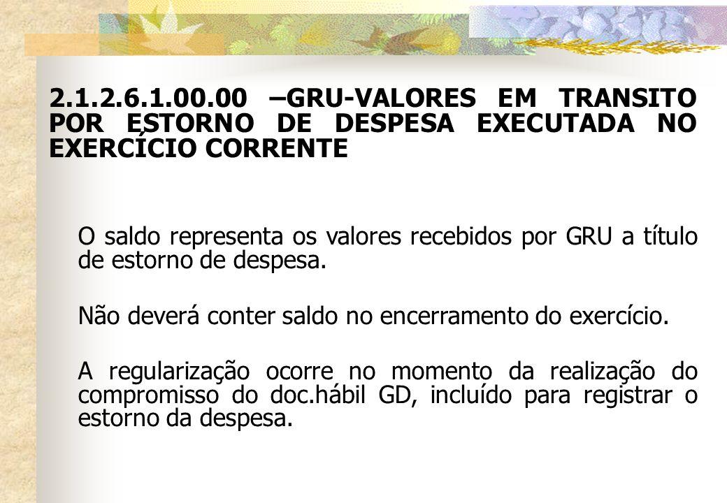 2.1.2.6.1.00.00 –GRU-VALORES EM TRANSITO POR ESTORNO DE DESPESA EXECUTADA NO EXERCÍCIO CORRENTE O saldo representa os valores recebidos por GRU a títu
