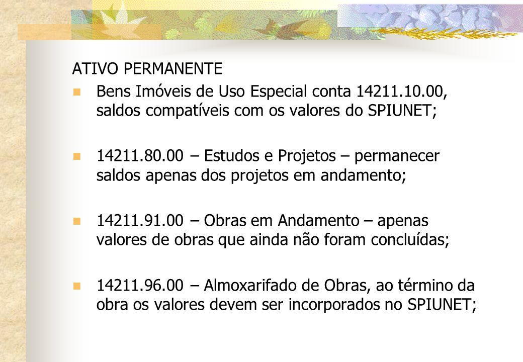 ATIVO PERMANENTE Bens Imóveis de Uso Especial conta 14211.10.00, saldos compatíveis com os valores do SPIUNET; 14211.80.00 – Estudos e Projetos – perm