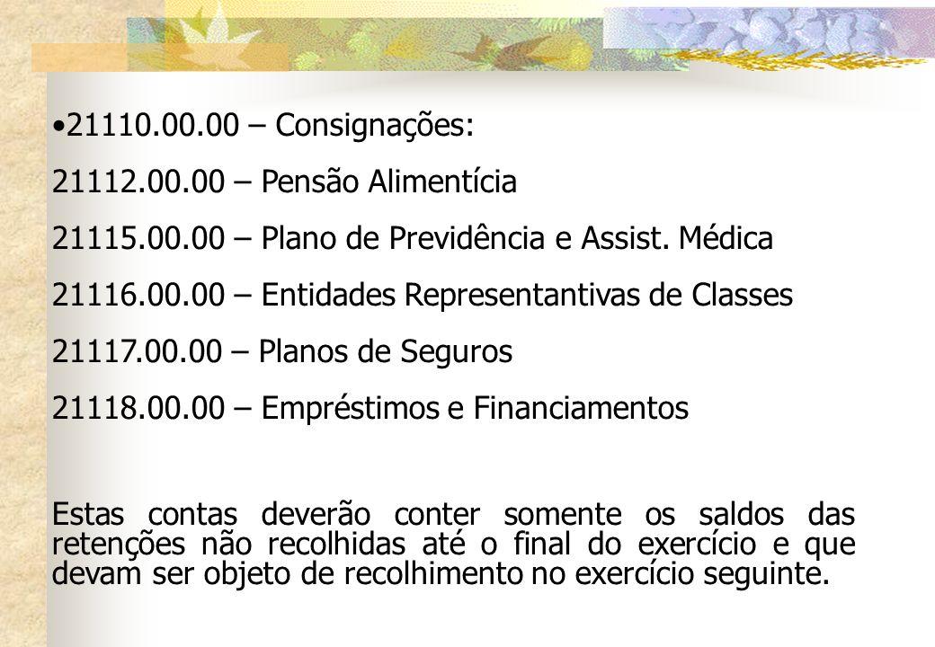 21110.00.00 – Consignações: 21112.00.00 – Pensão Alimentícia 21115.00.00 – Plano de Previdência e Assist. Médica 21116.00.00 – Entidades Representanti