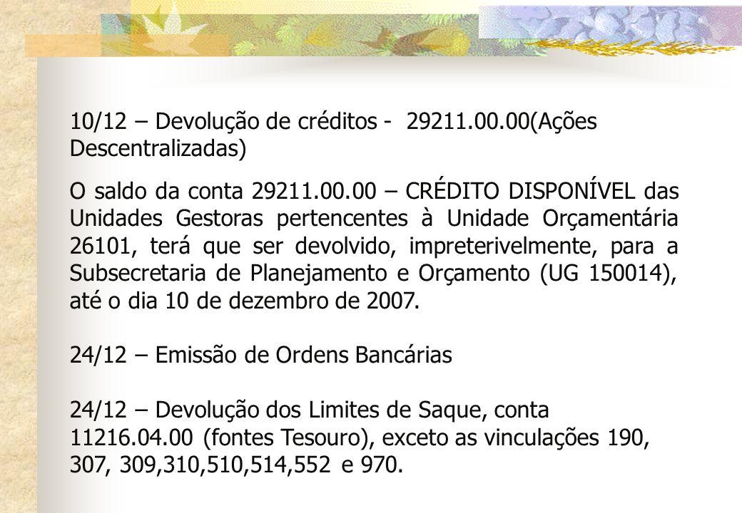 10/12 – Devolução de créditos - 29211.00.00(Ações Descentralizadas) O saldo da conta 29211.00.00 – CRÉDITO DISPONÍVEL das Unidades Gestoras pertencent