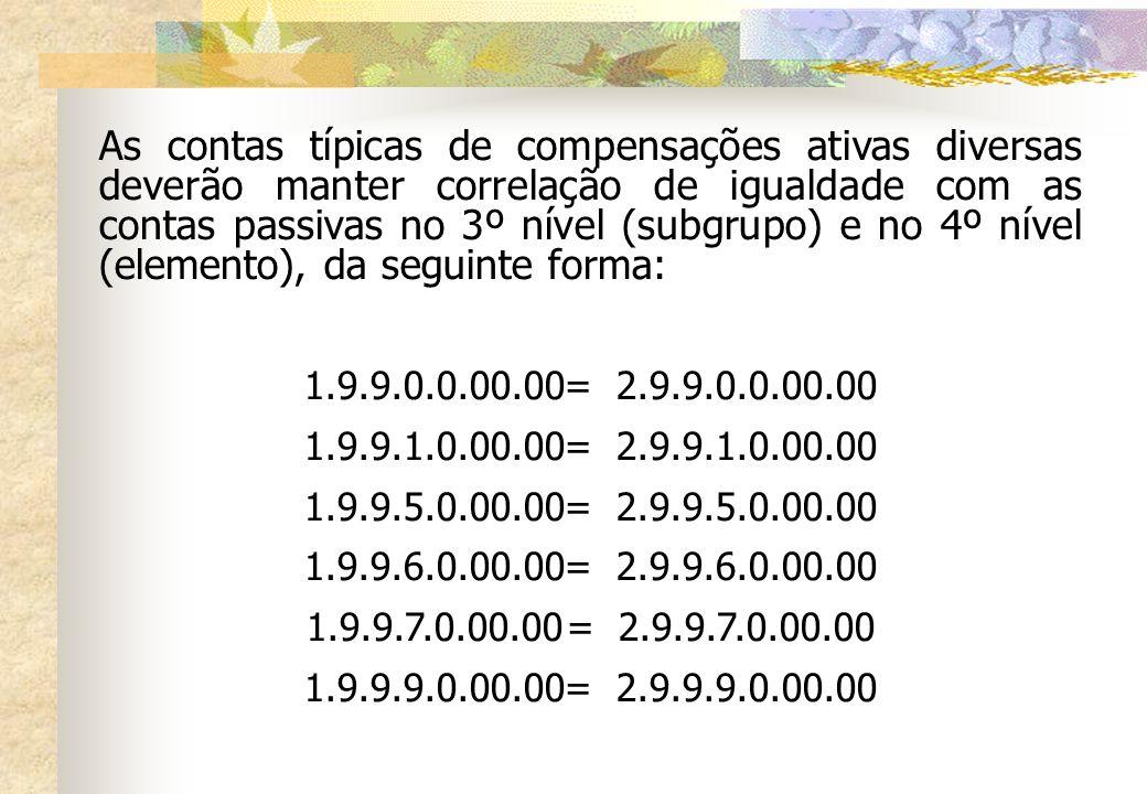 As contas típicas de compensações ativas diversas deverão manter correlação de igualdade com as contas passivas no 3º nível (subgrupo) e no 4º nível (