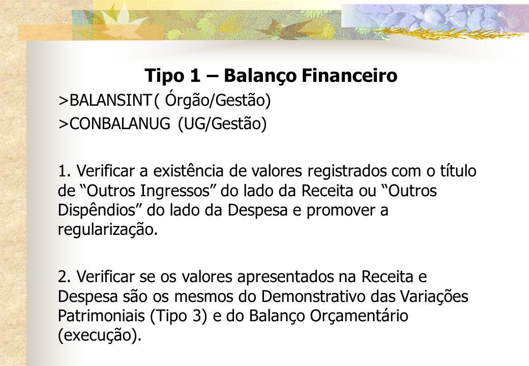 Tipo 1 – Balanço Financeiro >BALANSINT( Órgão/Gestão) >CONBALANUG(UG/Gestão) 1. Verificar a existência de valores registrados com o título de Outros I