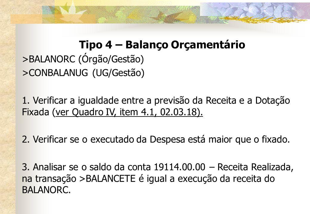 Tipo 4 – Balanço Orçamentário >BALANORC(Órgão/Gestão) >CONBALANUG(UG/Gestão) 1. Verificar a igualdade entre a previsão da Receita e a Dotação Fixada (