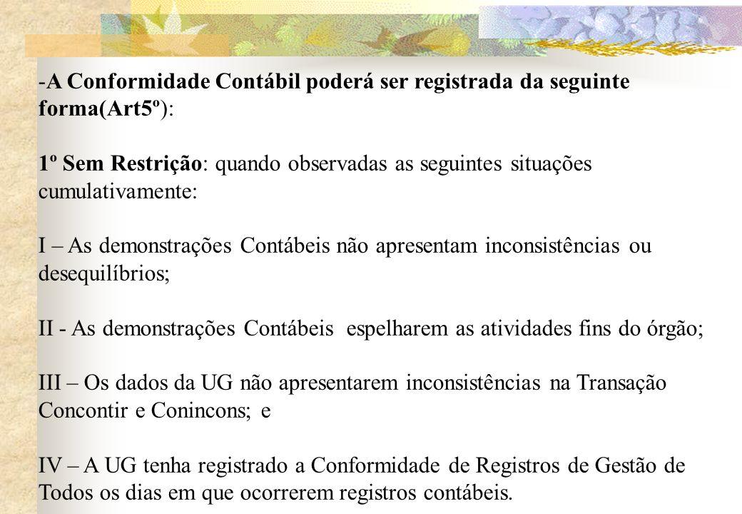 -A Conformidade Contábil poderá ser registrada da seguinte forma(Art5º): 1º Sem Restrição: quando observadas as seguintes situações cumulativamente: I