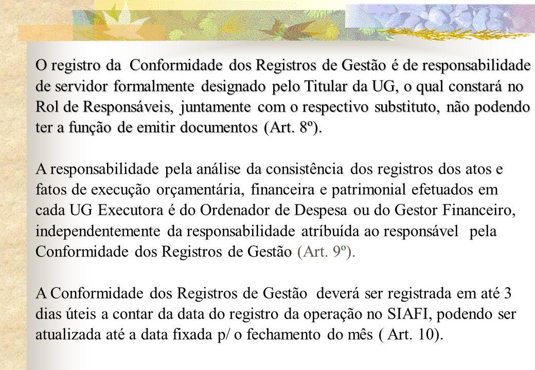 O registro da Conformidade dos Registros de Gestão é de responsabilidade de servidor formalmente designado pelo Titular da UG, o qual constará no Rol