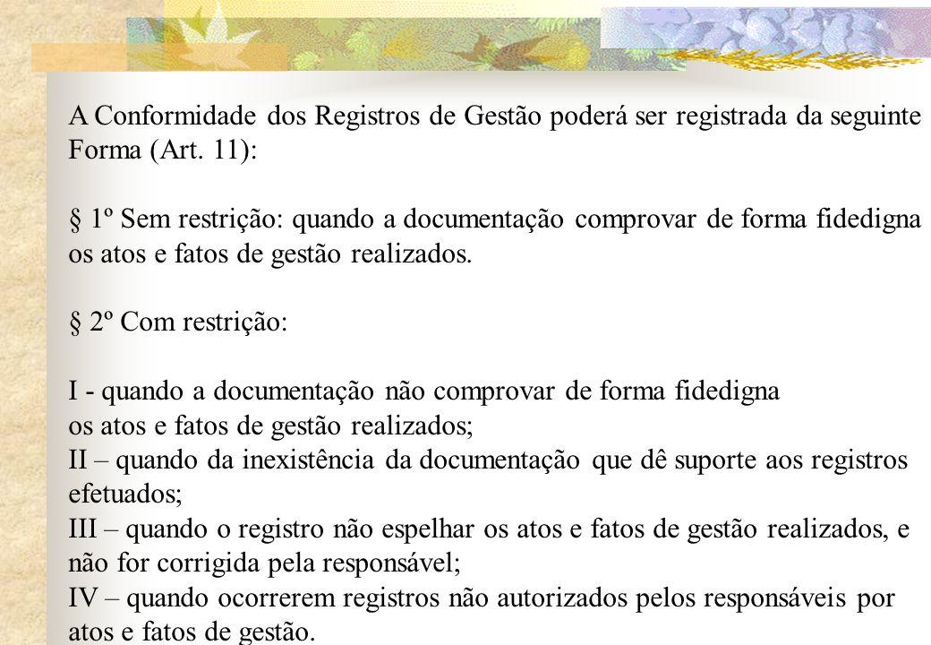 A Conformidade dos Registros de Gestão poderá ser registrada da seguinte Forma (Art. 11): § 1º Sem restrição: quando a documentação comprovar de forma