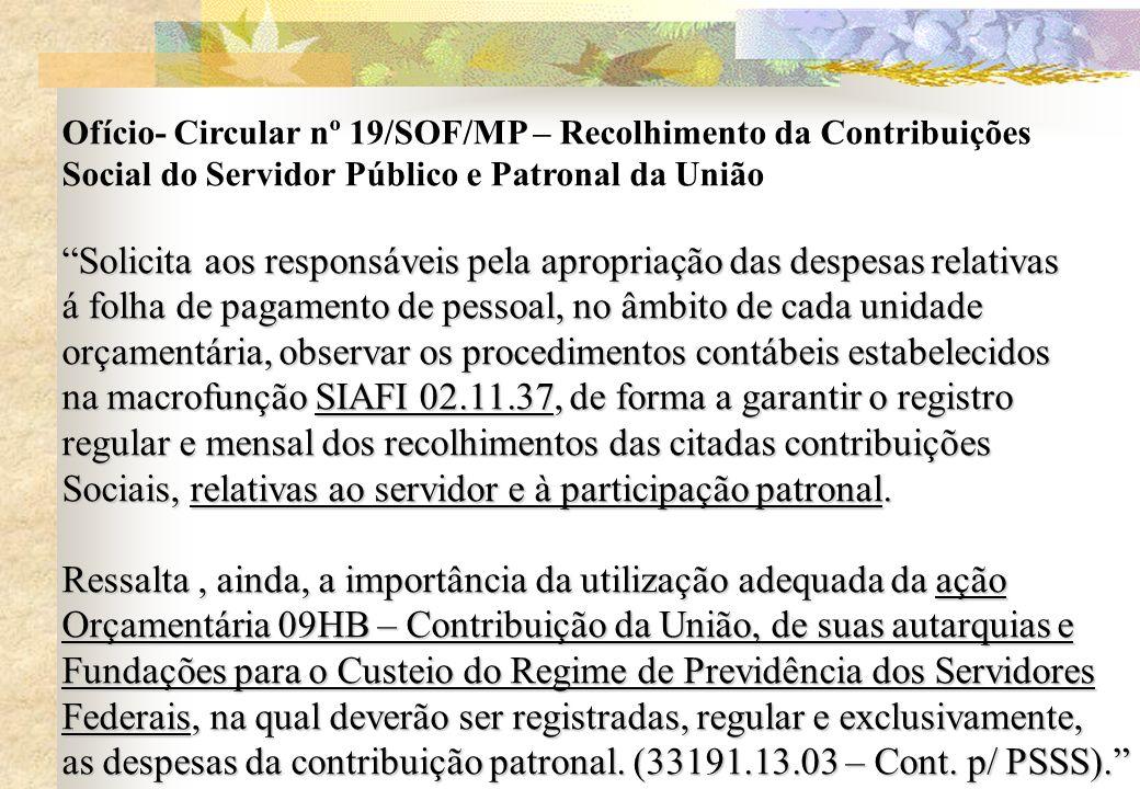 Ofício- Circular nº 19/SOF/MP – Recolhimento da Contribuições Social do Servidor Público e Patronal da União Solicita aos responsáveis pela apropriaçã