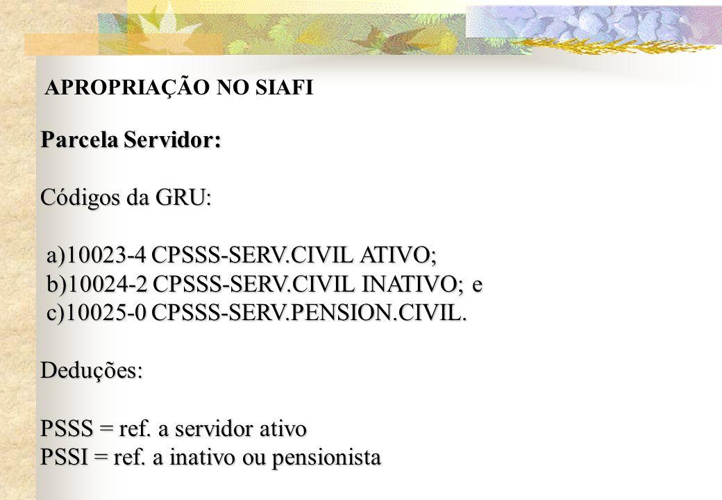 APROPRIAÇÃO NO SIAFI Parcela Servidor: Códigos da GRU: a)10023-4 CPSSS-SERV.CIVIL ATIVO; a)10023-4 CPSSS-SERV.CIVIL ATIVO; b)10024-2 CPSSS-SERV.CIVIL