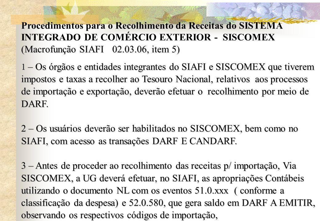 Procedimentos para o Recolhimento da Receitas do SISTEMA INTEGRADO DE COMÉRCIO EXTERIOR - SISCOMEX (Macrofunção SIAFI 02.03.06, item 5) 1 – Os órgãos
