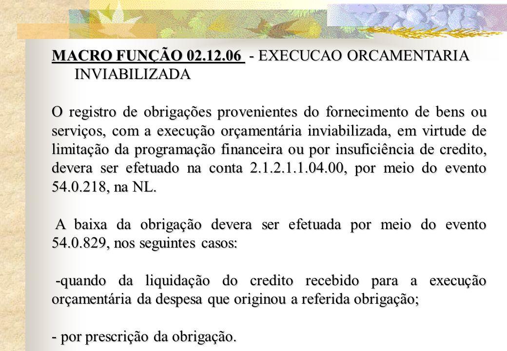 MACRO FUNÇÃO 02.12.06 - EXECUCAO ORCAMENTARIA INVIABILIZADA O registro de obrigações provenientes do fornecimento de bens ou serviços, com a execução