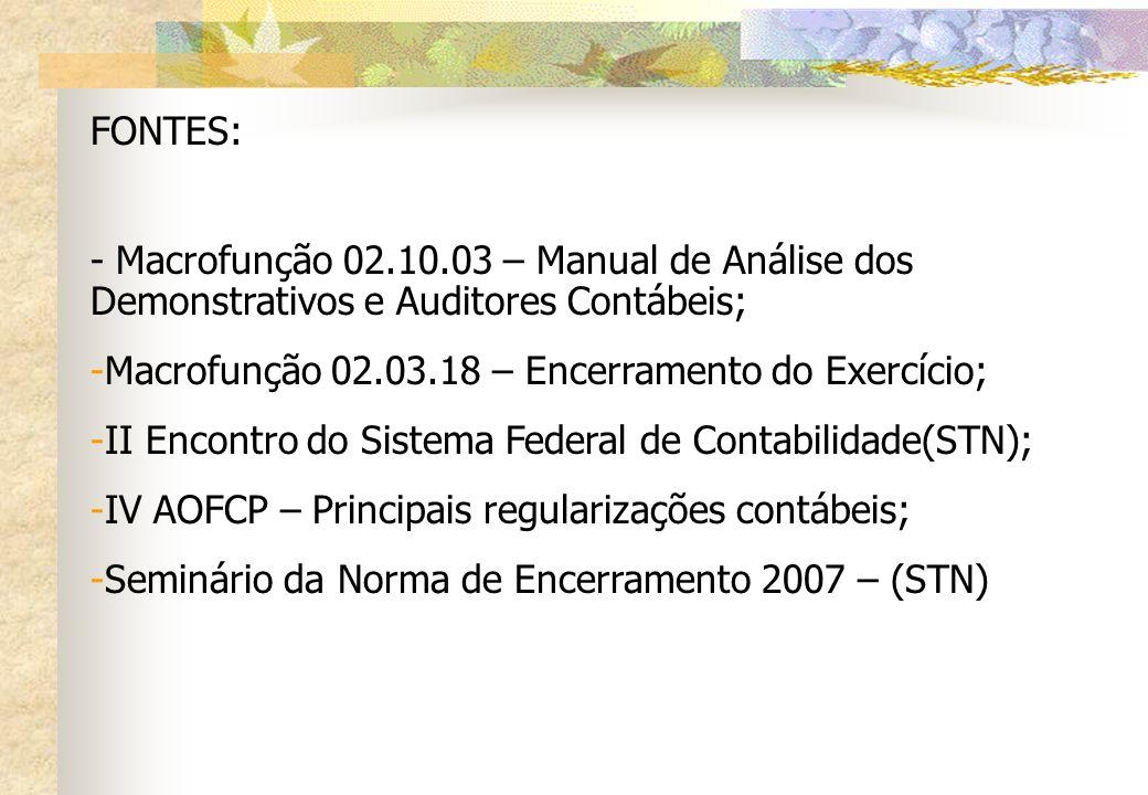 FONTES: - Macrofunção 02.10.03 – Manual de Análise dos Demonstrativos e Auditores Contábeis; -Macrofunção 02.03.18 – Encerramento do Exercício; -II En
