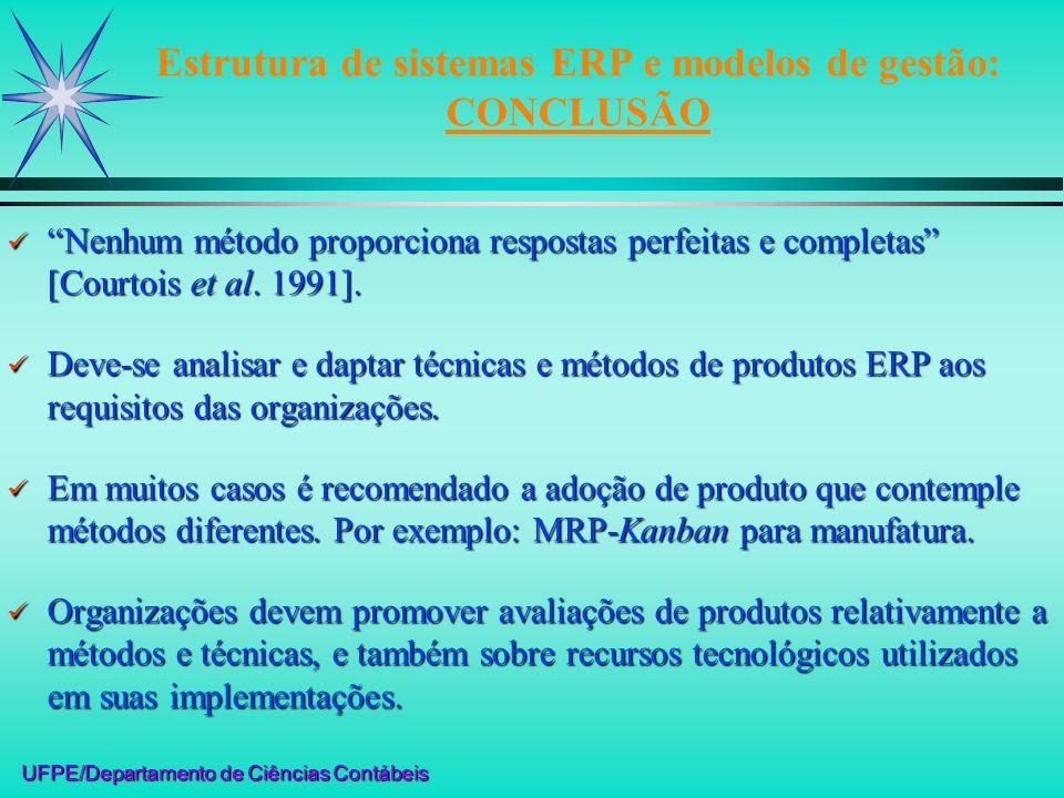 UFPE/Departamento de Ciências Contábeis Estrutura de sistemas ERP e modelos de gestão: CONCLUSÃO Nenhum método proporciona respostas perfeitas e compl