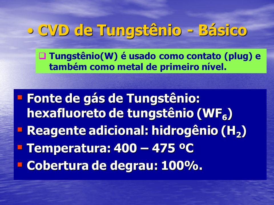 CVD de Tungstênio - BásicoCVD de Tungstênio - Básico Fonte de gás de Tungstênio: hexafluoreto de tungstênio (WF 6 ) Fonte de gás de Tungstênio: hexafl