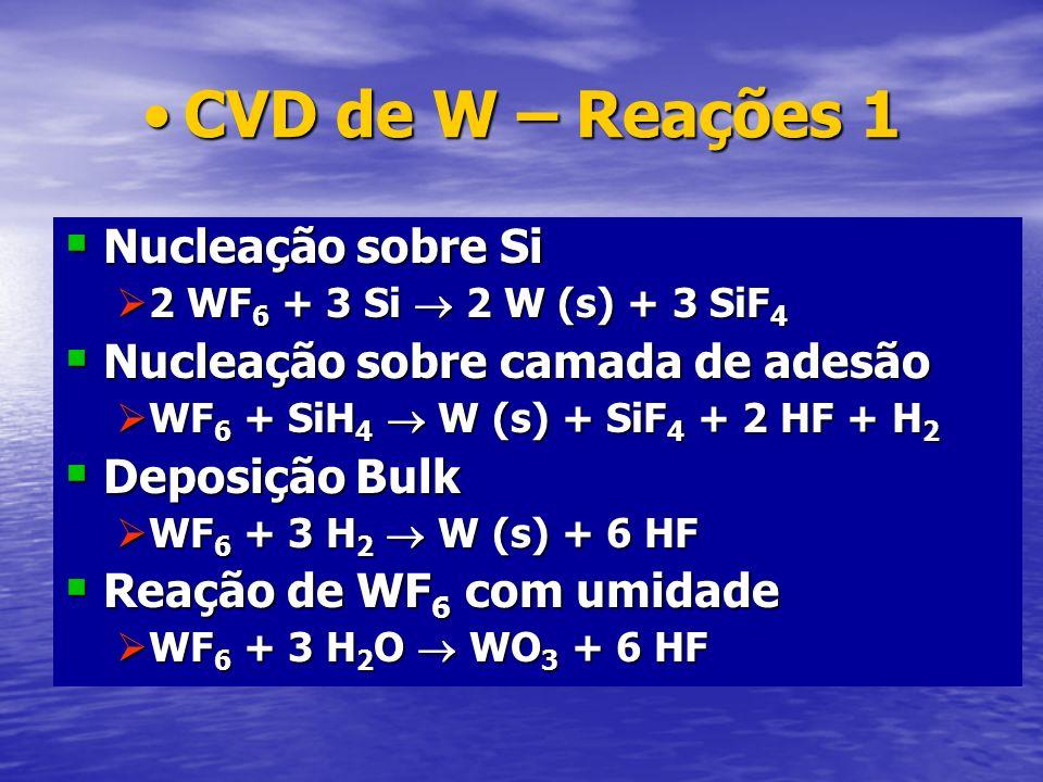 CVD de W – Reações 1CVD de W – Reações 1 Nucleação sobre Si Nucleação sobre Si 2 WF 6 + 3 Si 2 W (s) + 3 SiF 4 2 WF 6 + 3 Si 2 W (s) + 3 SiF 4 Nucleaç