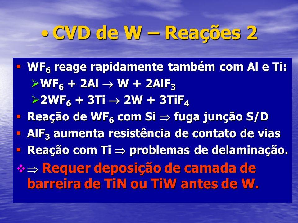 CVD de W – Reações 2CVD de W – Reações 2 WF 6 reage rapidamente também com Al e Ti: WF 6 reage rapidamente também com Al e Ti: WF 6 + 2Al W + 2AlF 3 W