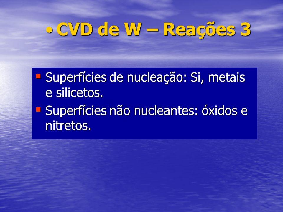 Superfícies de nucleação: Si, metais e silicetos. Superfícies de nucleação: Si, metais e silicetos. Superfícies não nucleantes: óxidos e nitretos. Sup