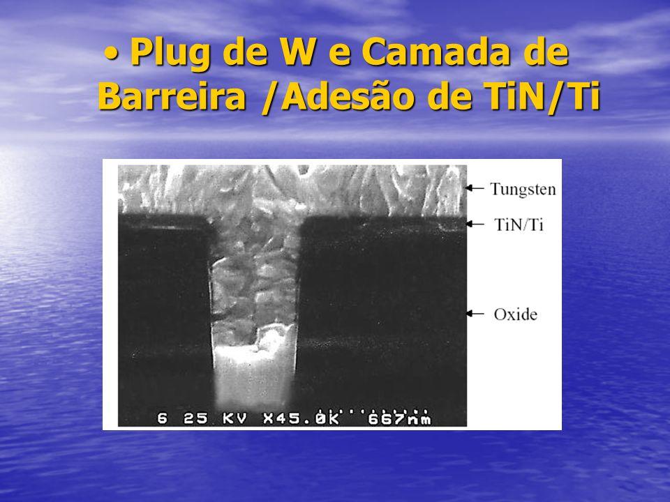 Plug de W e Camada de Barreira /Adesão de TiN/TiPlug de W e Camada de Barreira /Adesão de TiN/Ti