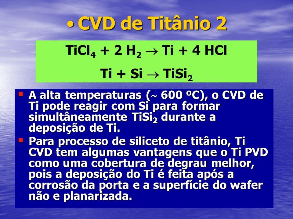 CVD de Titânio 2CVD de Titânio 2 A alta temperaturas ( 600 ºC), o CVD de Ti pode reagir com Si para formar simultâneamente TiSi 2 durante a deposição