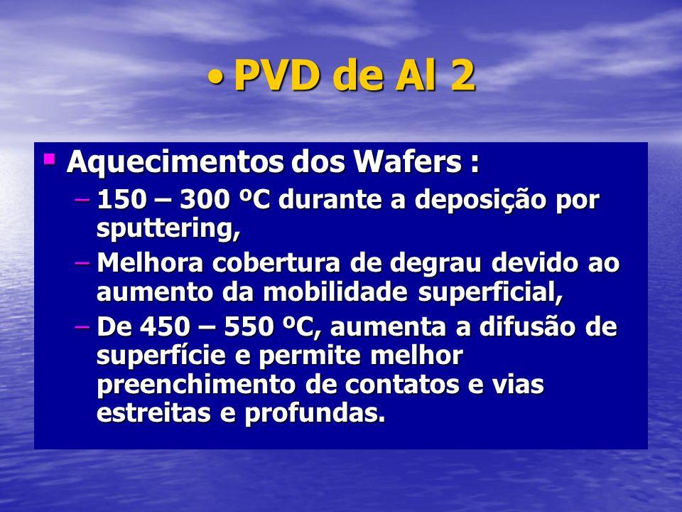 PVD de Al 2PVD de Al 2 Aquecimentos dos Wafers : Aquecimentos dos Wafers : –150 – 300 ºC durante a deposição por sputtering, –Melhora cobertura de deg
