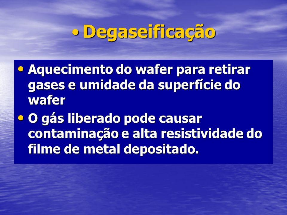 DegaseificaçãoDegaseificação Aquecimento do wafer para retirar gases e umidade da superfície do wafer Aquecimento do wafer para retirar gases e umidad