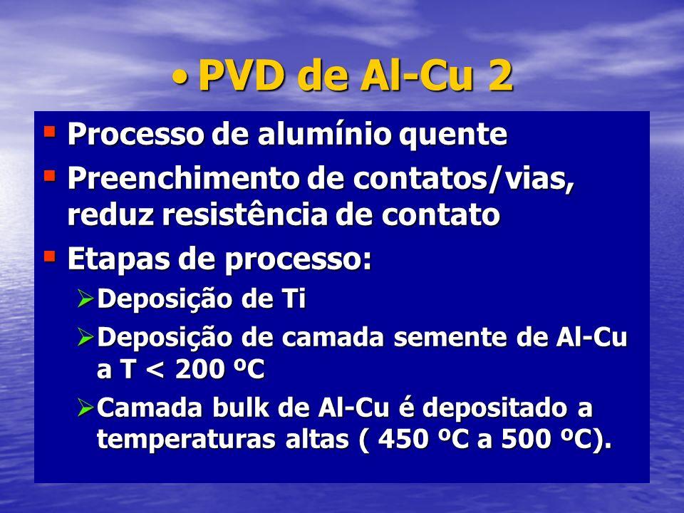 PVD de Al-Cu 2PVD de Al-Cu 2 Processo de alumínio quente Processo de alumínio quente Preenchimento de contatos/vias, reduz resistência de contato Pree