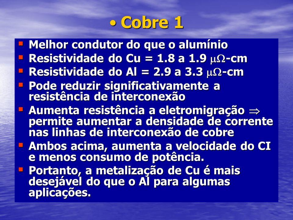 Cobre 1Cobre 1 Melhor condutor do que o alumínio Melhor condutor do que o alumínio Resistividade do Cu = 1.8 a 1.9 -cm Resistividade do Cu = 1.8 a 1.9