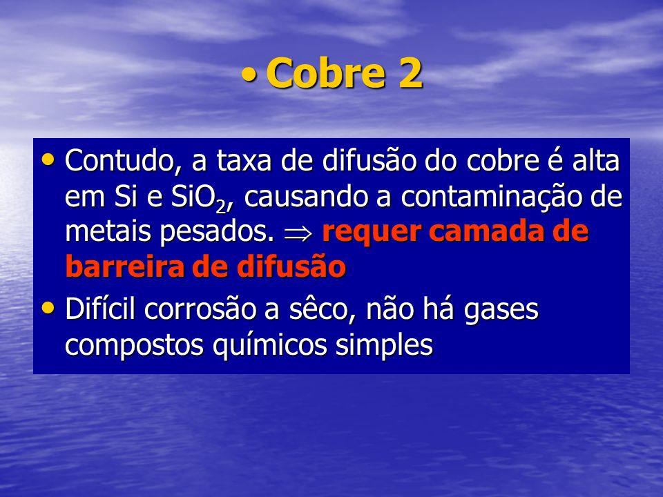 Cobre 2Cobre 2 Contudo, a taxa de difusão do cobre é alta em Si e SiO 2, causando a contaminação de metais pesados. requer camada de barreira de difus